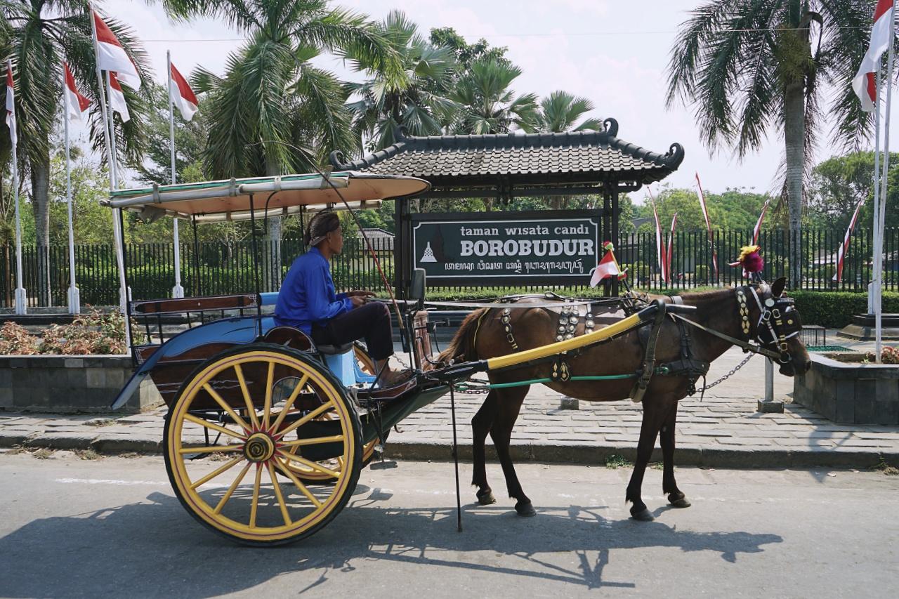 keliling Borobudur menggunakan andong
